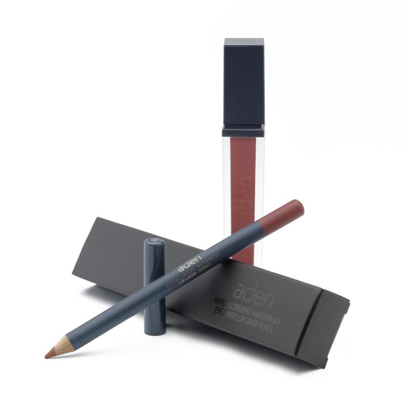Aden Folyékony Ajakrúzs és szájkontúr ceruza szett - Brick