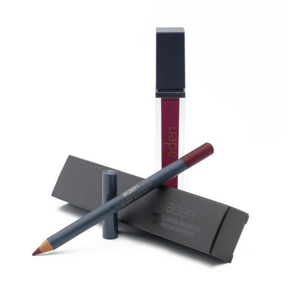 Aden Folyékony Ajakrúzs és szájkontúr ceruza szett - Burgundy (11)